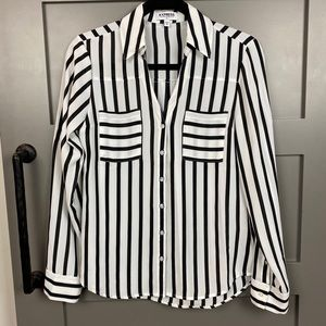 Express Long Sleeve Striped Portofino Shirt 🖤